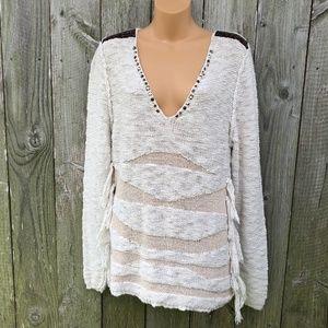 Gimmicks BKE Boho V-Neck Cotton Sweater w/ Tassels